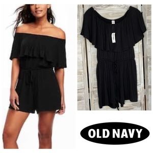 Old Navy Off the Shoulder Black Romper Small NWT